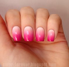 pink gradient nail art by ania