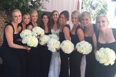A real Vow wedding! Our gorgeous bride Kara & her black Felicity bridesmaids in @nicolemillernyc. Discover more bridesmaid dresses to rent at vowtobechic.com.