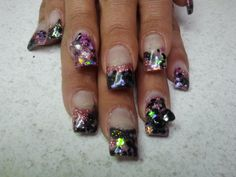 pink and black glitter nails  call Kristal at 916-670-0010 for an appointment in Sacramento