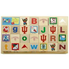 "Mascot Wooden Blocks - Indiana Hoosiers by Hunter / Mascotopia. $29.99. Includes 26 Solid Wood Blocks and Wooden Holder. Each block contains 6 images (one per side of block). Great way to teach colors, animals, objects, and of course sports. Each block/cube dimension: 1.75""L x 1.75""H x 1.75""W. An Officially Licensed NCAA Product!. Kids don't need to be collegiate athletes to play with these mascot blocks! Children will enjoy learning from A to Z with these richly illustra..."