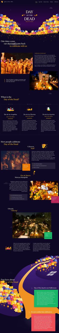 A gorgeous site to honor the holiday that reunites the living and the dead. Web Ui Design, Site Design, Landing Page Design, Web Design Inspiration, Day Of The Dead, Website Template, Promotion, Templates, Day Of Dead