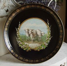 handpainted sheep and hollyhocks painting on metal tray English Country Decor, French Country Style, French Decor, French Country Decorating, Painted Trays, Hand Painted, Baa Baa Black Sheep, Sheep And Lamb, Hollyhock