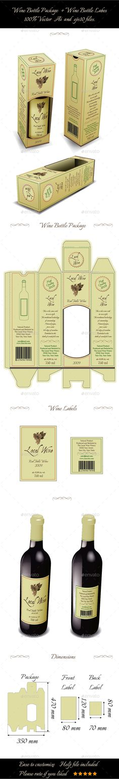 Wine Bottle Package And Bottle Labels - Packaging Print Templates