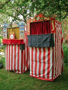 just 2 of the many Punch and Judy booths that set up for the annual Punch and Judy carnival in Covent Garden