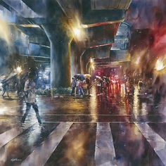 """Lin Jingzhe """"Rain Light blend"""" 2012 watercolor 115 × 115cm   by Lin Jingzhe / Lin, Ching-Che"""