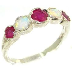 Genuine Solid Sterling Silver Natural Ruby & Fiery Opal Womens Eternity Ring - Finger Sizes 4 to 12 Available LetsBuySilver. $109.00