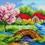 Kanwa Wiosna- Mostek na rzece