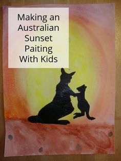 Painting an Australian Sunset with Kids Drawing Sunset, Watercolor Sunset, Lessons For Kids, Art Lessons, Australian Art For Kids, Australia Crafts, Preschool Art, Preschool Projects, Australia Animals