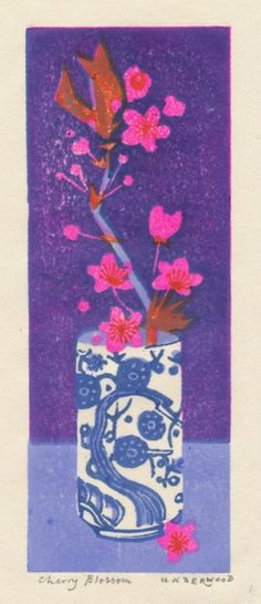 Cherry Blossom (woodblock print) by Matt Underwood