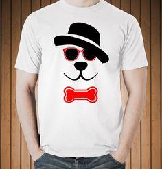 funny t-shirt dog hat glasses
