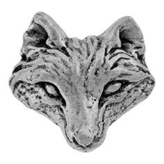17x18mm Pewter Wolf Button by Green Girl Studios | Fusion Beads