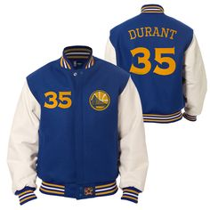 Golden State Warriors JH Design Kevin Durant #35 Wool Jacket with Leather Sleeves - Royal/White