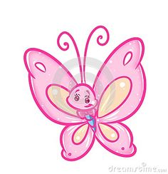Butterfly pink animal character  cartoon illustration
