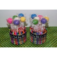 Teacher gifts!  Jar decorated with crayons and  filled with Smarties and cake pops!   www.mommybakesllc.com