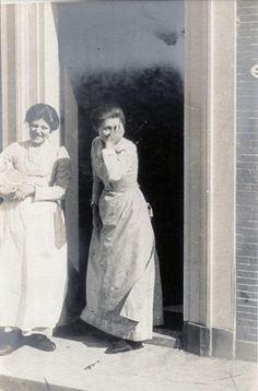 Some cheerful domestic servants. Photo taken in Alkmaar, North Holland 21 Apr 1906 by Linley Sambourne the Punch cartoonist