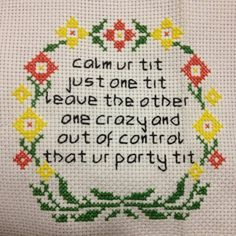 Subversive Cross Stitch Calm ur tit by BossAsStitch on Etsy