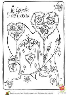 Coloriage walt disney Alice garde carte peintre - Hugolescargot.com