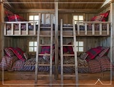 of a rustic bunkhouse like this. Make the bottom bunks double for couple sleepovers.dreaming of a rustic bunkhouse like this. Make the bottom bunks double for couple sleepovers. Rustic Bunk Beds, Cabin Bunk Beds, Bunk Bed Rooms, Bunk Beds Built In, Cool Bunk Beds, Kids Bunk Beds, Loft Bedrooms, Shared Bedrooms, Girls Bedroom