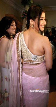 Manisha Koirala at a recent event: asymmetric saree blouse design    saree blouse design bollywood saree