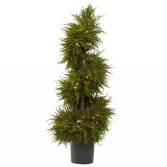 Wholesale 43 Inch Cedar Spiral Topiary w/Lights, [Decor, Silk Flowers] -- You can get more details by clicking on the image.