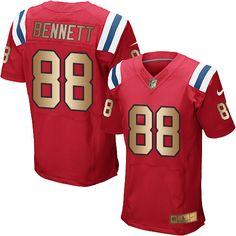 Nike New England Patriots Men's #88 Martellus Bennett Elite Red/Gold Alternate NFL Jersey