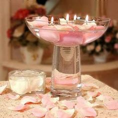 Centrepiece idea #1  Imagine this with no stem and with blue or purple flowers! So pretty :)