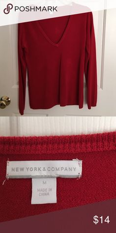 NYCO red sweater 100% acrylic red V neck great layering item New York & Company Sweaters V-Necks
