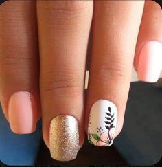 The 45 pretty nail art designs that perfect for spring looks 15 41 Cute Nail Art Designs, Acrylic Nail Designs, Acrylic Nails, Nailart, Short Square Nails, Minimalist Nails, Pretty Nail Art, Stylish Nails, Flower Nails