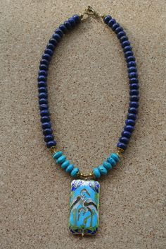 Artisan LAPIS & TURQUOISE necklace w/ Exquisite by DanielaJewelry, $128.00