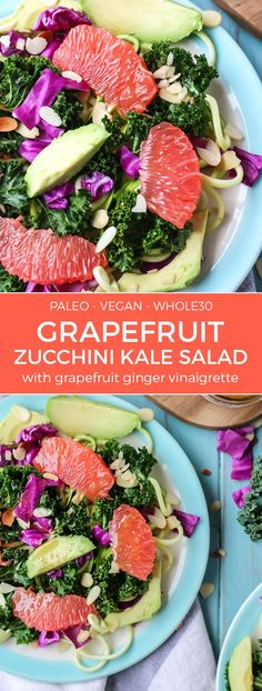 This kale salad is light and refreshing thanks to sweet Texas red grapefruits. Tossed in a simple grapefruit ginger vinaigrette, you will love it! Vegan, paleo, and no added sugars!