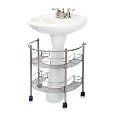 Pedestal Sink Storage Bathroom Ideas Organizer Under Sink 2 Shelves Rolls Locks Pedestal Sink Storage, Bathroom Sink Storage, Under Sink Storage, Bath Storage, Bathroom Organization, Bathroom Ideas, Extra Storage, Organized Bathroom, Bathroom Gadgets