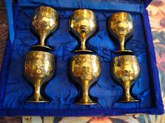A Set of Six Vintage Brass Cups and Tray in Velvet by AnnasDream, $22.00