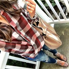 IG @mrscasual <click through to shop this outfit> Blanknyc Plaid Wrap Front Shirt, ripped raw hem skinny jeans, vince camuto sandals, BP tote.