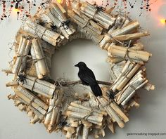 Edgar Allen Poe -- wrapped book pages provide the base for this beautiful wreath. (Photo by: Gwen Moss)