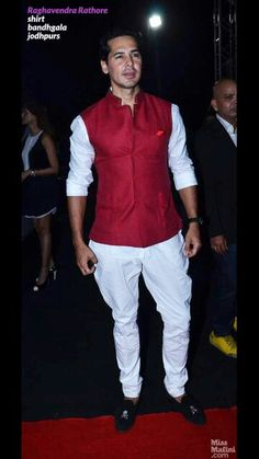 Red Nehru Jacket, white shirt, and pajamas