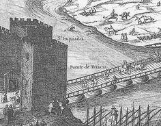 Detalle de un grabado francés, del antiguo puente de barcas de Triana y el castillo de San Jorge o de la Inquisición.