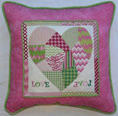Kate Dickerson (KSH) Needlepoint finished funky patchwork heart pillow