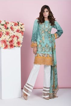 Shirt: Fabric: Embroidered Front, Printed Back with Sleeves Shalwar/Trousers: Fabric: Dyed Trouser. Dupatta: Fabric: Printed Chiffon Dupatta
