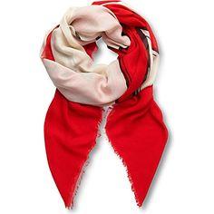 VICTORIA VICTORIA BECKHAM Cat-print modal-blend scarf (Red cat