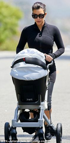 Focused: The mom-of-one is said to be determined to shed a final 5lbs - having already dropped an impressive 50lbs since Nori's birth last June - prior to slipping into her designer wedding gown on May 24, upping her workouts and sticking strictly to her favoured Atkins diet