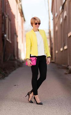 yellow blazer, white top, black skinny pants