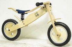 """12"""" inch Route 66 Wooden Suspension BALANCE BIKE, Running Bikes, First Bicycle"""
