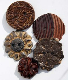 Handmade Ceramic Buttons SET OF 5 in shades of Brown