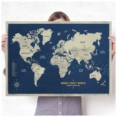 R$65,00 Pôster Mapa-Múndi A1   150 Pins Adesivos