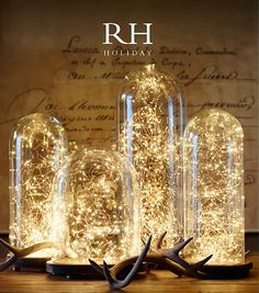 The new Restoration Hardware catalog is out and the centerpiece on the cover is stunning. Get a similar look with our LED strands and complement with candles and mercury glass. Let our designers help you get equally shimmery holiday or NYE focal points!