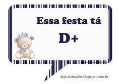 """Kit Aniversário """"Ursinho Príncipe Azul"""" para Imprimir - Convites Digitais…"""