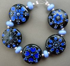 Blue and black! Lampwork beads by Lorna of Pixie Willow Designs