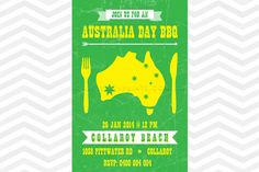 Australia Day Invitation -  Yellow and green party theme / BBQ invitation design. Print it yourself. www.jellyfishprints.com.au