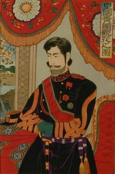 The Meiji Emperor wearing a western style military uniform. Green Gloves, Virtual Museum, Asian History, First Contact, Western Dresses, Woodblock Print, Emperor, Samurai, Westerns