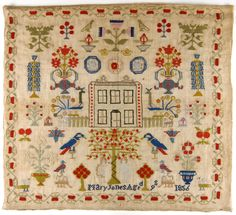 Sampler  Embroidered by Mary Jones, English  Geography: Made in Wales, Europe  Date: 1856  Medium: Wool on canvas (Berlin wool work); cross stitches  Dimensions: 23 1/2 x 25 1/2 inches (59.7 x 64.8 cm)  Curatorial Department: Costume and Textiles  Object Location:  Currently not on view Accession Number: 1969-288-323  Credit Line: Whitman Sampler Collection, gift of Pet, Incorporated, 1969
